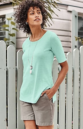 Image for Pima Scoop-Neck Elbow-Sleeve Tee