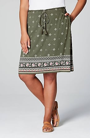 Image for Tasseled Tie-Waist Printed Knit Skirt