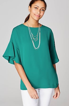 Image for Wearever Flounced-Sleeve Woven Top