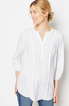 Image for Nora Schiffli-Embroidered Voile Top