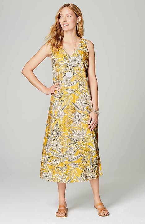 linen a-line midi dress