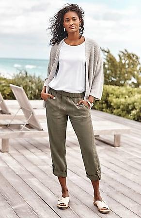 Image for Pure Jill Linen Slim-Leg Pants