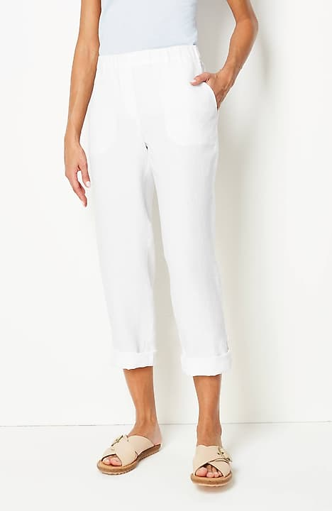 Pure Jill Linen Slim-Leg Pants
