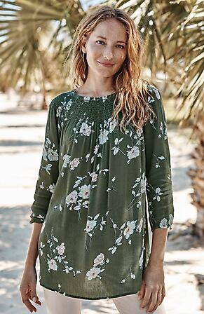Image for Smocked Cotton & Rayon Tunic