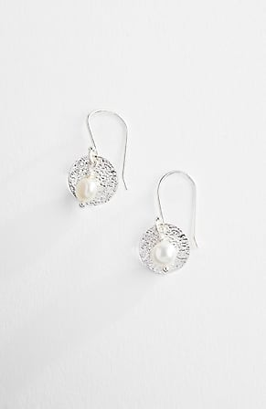 Product Image for Sterling Silver Coin & Pearl Earrings