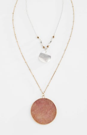 Side Image for Pink Sunset Double-Drop Necklace