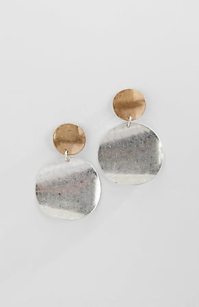 Product Image for Mixed-Metal-Disks Post Drop Earrings