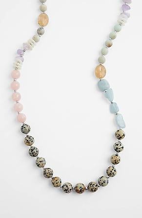 Side Image for Dalmatian Stone Single-Strand Necklace