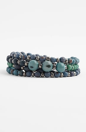Side Image for Pure Jill Indigo Blues Beaded Wrap Bracelet