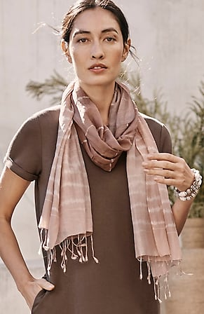 Image for Pure Jill Cotton & Silk Ombré-Stripes Scarf