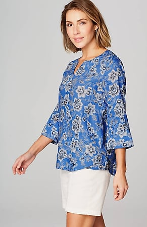 Image for Linen Floral-Print Top