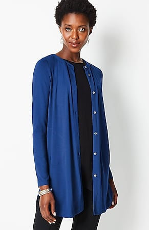Image for Wearever Button-Front Long-Line Tunic