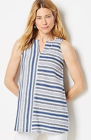 Image for Mixed-Stripes Sleeveless Tunic
