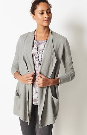 Image for Pure Jill Cotton & Cashmere Draped-Front Cardi
