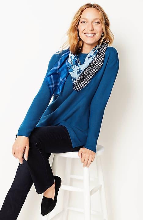 rib-trimmed boat-neck pullover