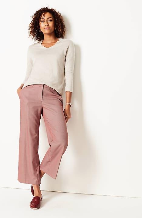 full-leg cropped trousers