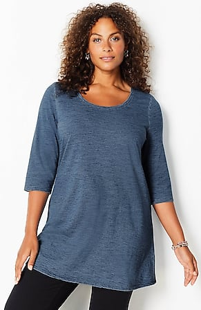 Image for Pure Jill Indigo-Knit Ballet-Sleeve Tunic