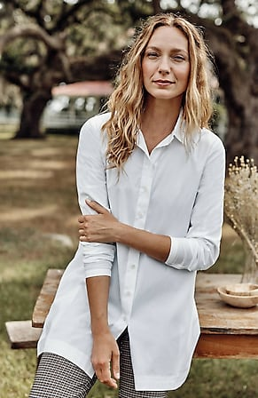 Image for Cotton-Stretch A-Line Tunic
