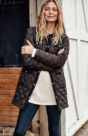 Image for Cord-Trimmed Down Puffer Coat