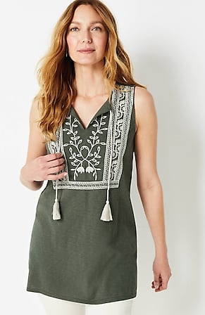Image for Embroidered Knit Sleeveless Tunic