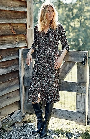 Image for Flounced-Hem Button-Front Dress