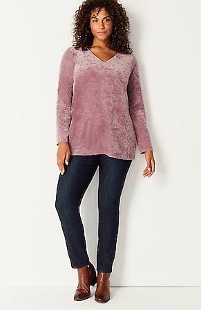 Image for Velvet-Knit Shirred-Back Top