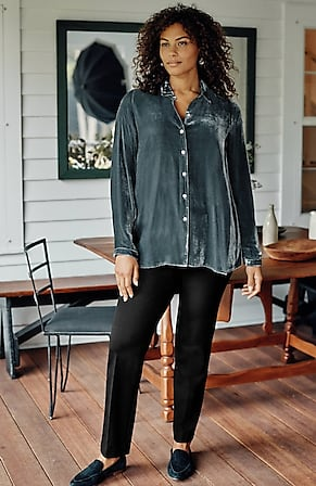 Image for Rayon & Silk Velvet A-Line Shirt