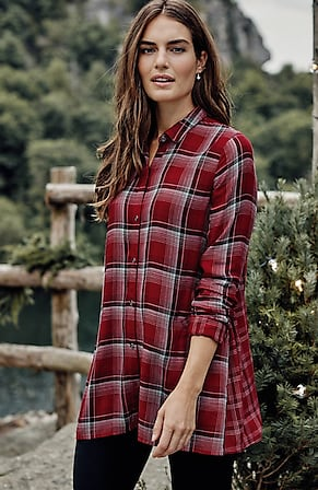 Image for Mixed-Plaid Double-Cloth Tunic