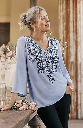 Image for Embroidered Bell-Sleeve Top