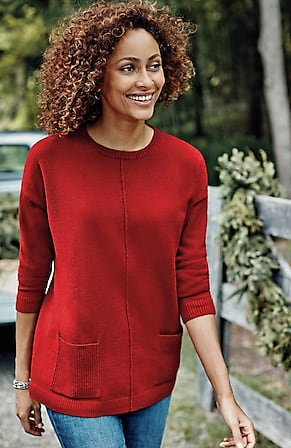 Image for Ribbed-Pocket Crew-Neck Sweater