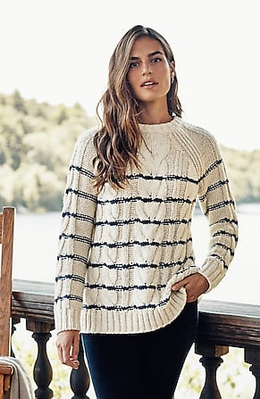 Image for Striped Cable-Knit Sweater