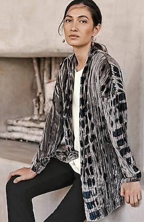 Image for Pure Jill Shibori-Print Velvet Jacket