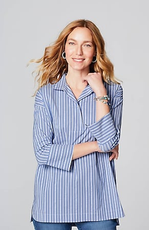 Image for Cotton-Stretch Popover Tunic
