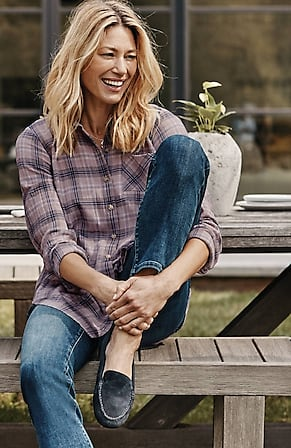 Image for Textured-Plaid Shirttail Tunic