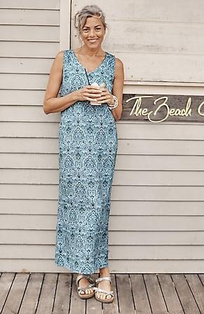 Image for Linen Printed V-Neck Maxi Dress