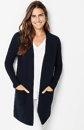 Image for Long Cardi With Ribbed Sleeves and Pockets