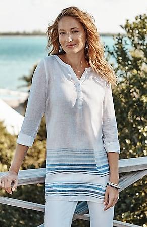 Image for Linen-Blend Back-Pintucks Tunic