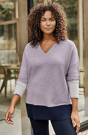 Image for Reversible Color-Block V-Neck Sweater
