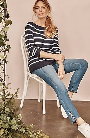Image for Authentic Fit Buttoned-Hem Ankle Jeans