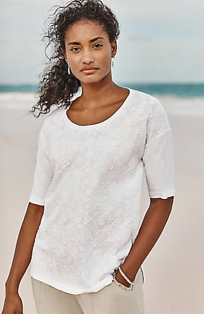 Image for Pure Jill Embroidered Elbow-Sleeve Top