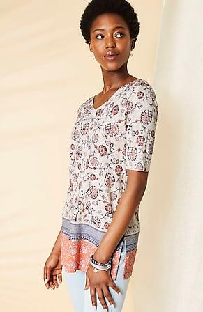 Image for Pima Double-V Elbow-Sleeve Tunic