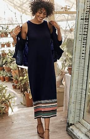 Image for Sleeveless Striped-Border Knit Maxi Dress