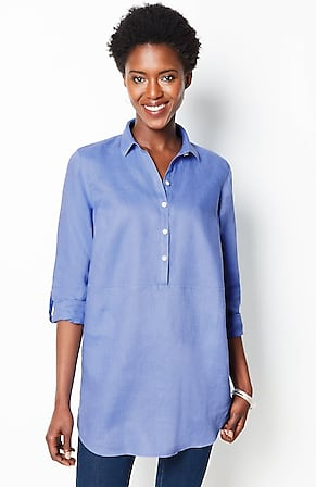 Image for Linen Tab-Sleeve Tunic
