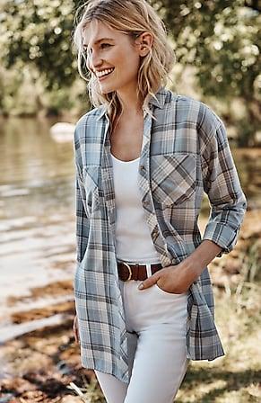 Image for Tab-Sleeve Plaid Tunic