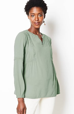Image for Lace-Trimmed Peasant Top
