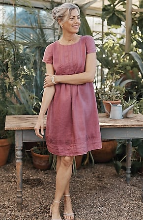 Image for Linen Cap-Sleeve Pleated Dress