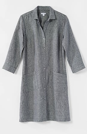 Image for Linen Striped A-Line Shirtdress