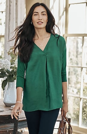Image for Mixed-Media Relaxed V-Neck Top