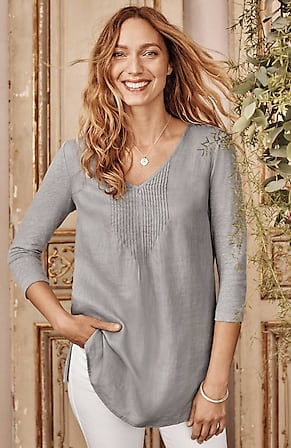Image for Linen Mixed-Media Tunic