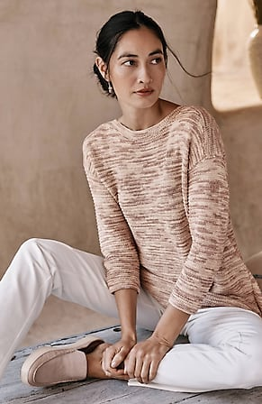Image for Pure Jill Cotton-Rich Mixed-Stitch Elliptical Sweater